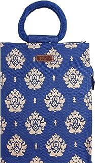 ECOTARA Gold 100% Natural Jute Lunch Bag (Blue)