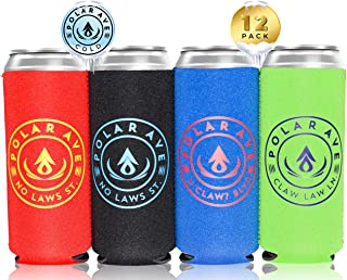 (12 Pack   Multi Colors) Neoprene Slim Can Cooler Sleeve for White Claw - 12, 16 oz Tall Beer Cans Iced Coffee, Michelob Ultra, Red Bull, Spiked Seltzer, Truly- Not a Boring Blank Neoprene Can Cooler