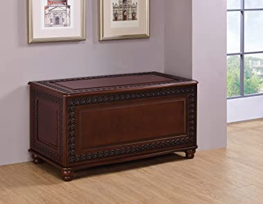 COASTER FINE FURNITURE CO-900012 Cedar Chest with Carving and Bun Feet, Deep Tobacco