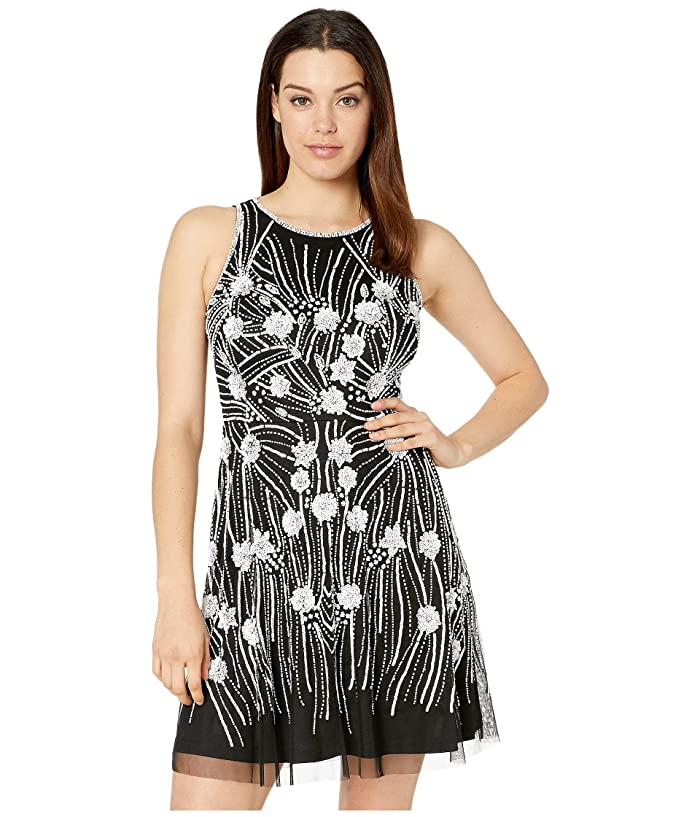 Adrianna Papell Contrast Beaded Fit and Flare Cocktail Dress (Black/Ivory) Women