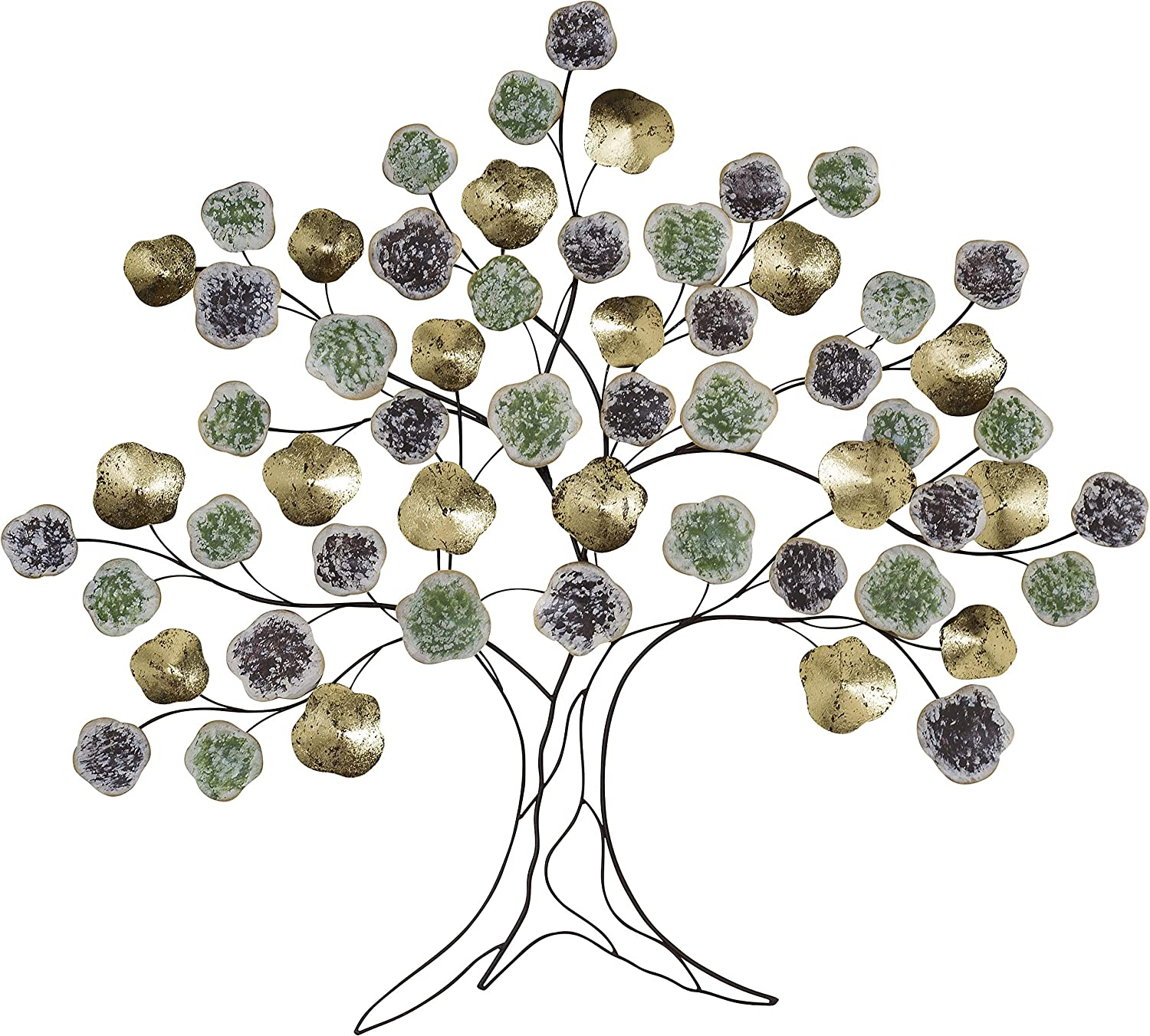 Tree of Life, Metal Wall Decor Art, Gold, Silver, Gray, Blue Leaves with Black Branches, Artisan Crafted Metal, Distressed Rubbed Rustic Finish, Lacquered Iron, 40 Wide x 35 Inches Tall