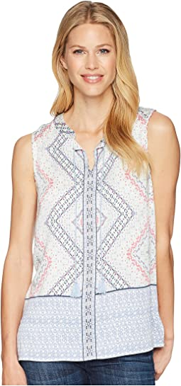 Printed Sleeveless Blouse with Tassels