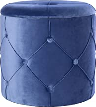 Bold Tones Round Wooden Velvet Ottoman Stool with Lid, Blue,