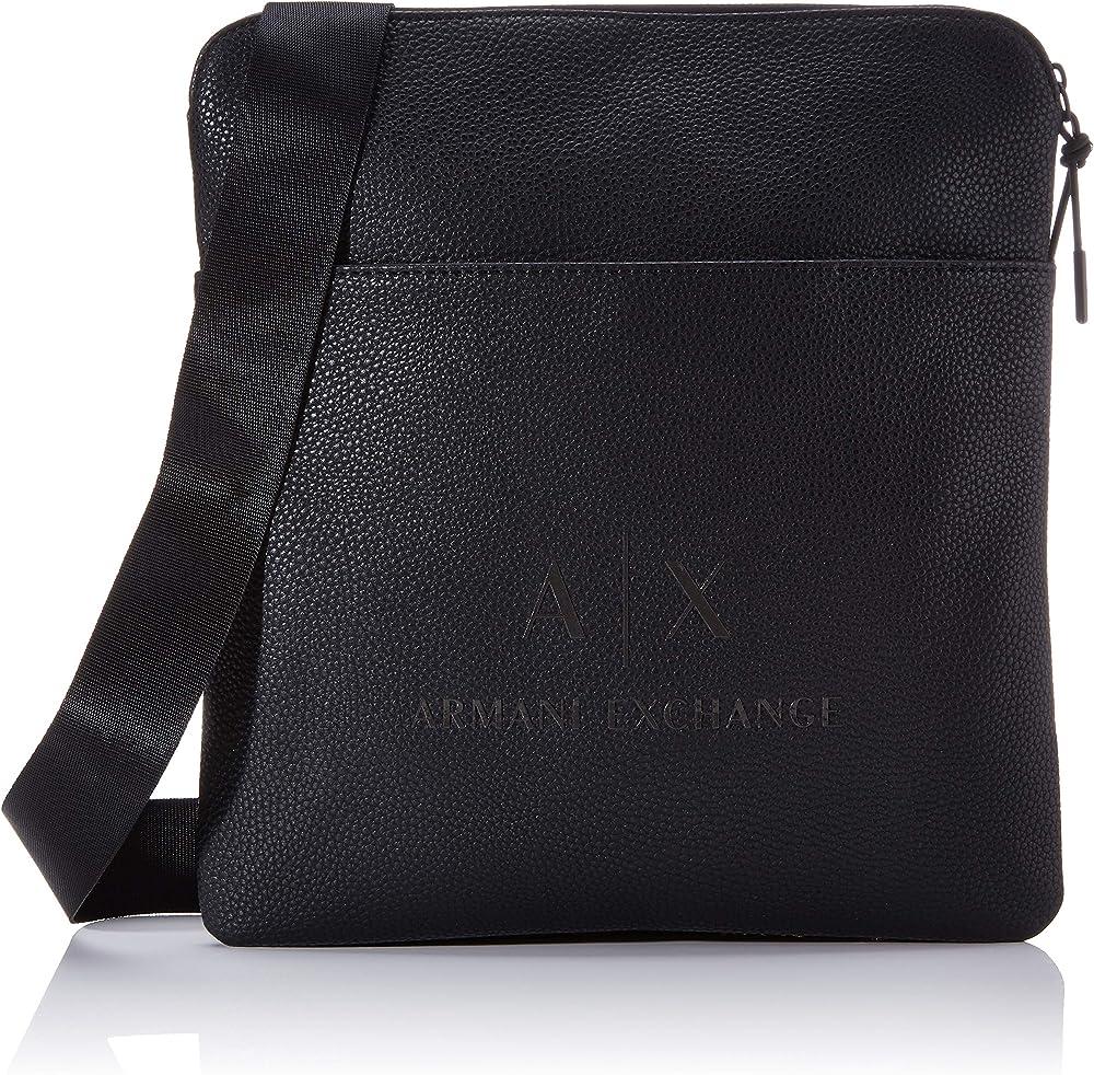 Armani exchange medium flat crossbody bag, borsello messenger da uomo, in pelle sintetica martellata 952137CC352