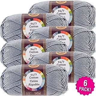 Lion Brand 98418 24/7 Cotton Yarn-6/Pk-Silver, 6/Pk Silver 6 Pack