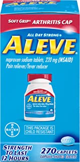 Aleve Soft Grip  Arthritis Cap Caplets, Naproxen Sodium 220 mg (NSAID), Pain Reliever/Fever Reducer, #1 Orthopedic Surgeon Recommended, 270 Count