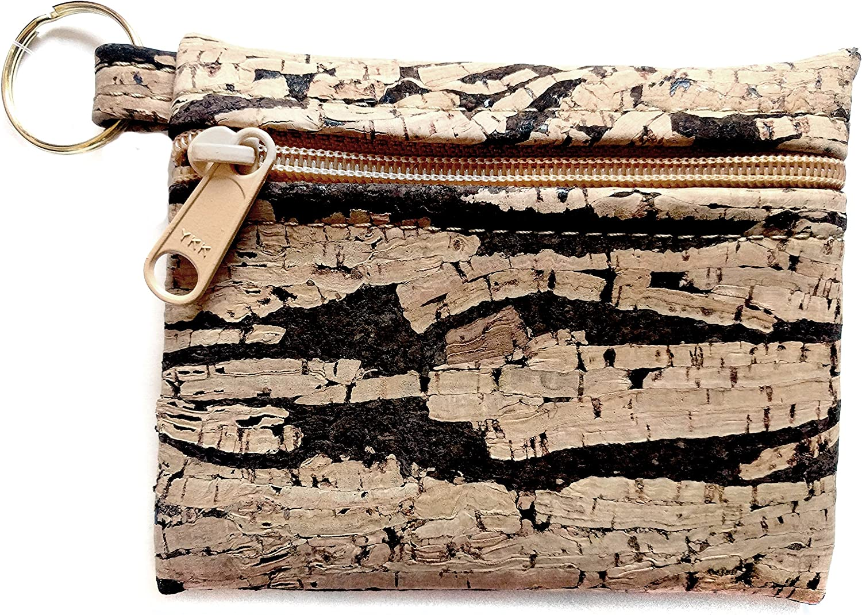 Be Organized Handmade Key Chain Pouch   Rustic Bark Cork