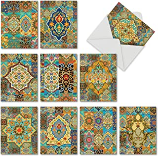 Beautiful Blank All Occasion Ramadan Cards 4 x 5.12 inch - Elegant Arabian Sights Assorted Greeting Cards - Colorful Tile Designed Stationery - Bulk Note Card Set w/Envelopes (Pack of 10) M6588OCB