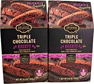 Private Selection Triple Chocolate Biscotti Cookies Twice Baked with Dark & Milk Chocolate Chips