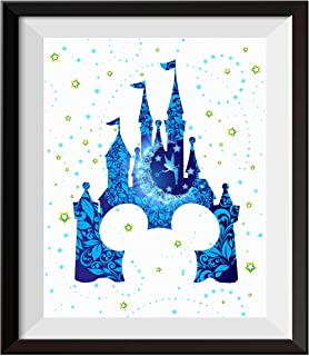 Uhomate Tinkerbell Peter Pan Princess Cinderella Castle Home Canvas Prints Wall Art Anniversary Gifts Baby Gift Inspirational Quotes Wall Decor Living Room Bedroom Bathroom Artwork C092 (8X10)