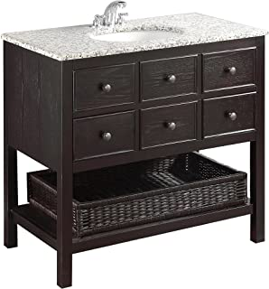 Simpli Home NL-DAVENPORT-EB-36-2A Burnaby 36 inch Contemporary Bath Vanity in Espresso  with Dappled Grey Granite Top