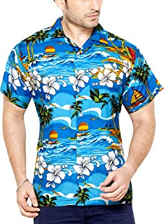 CLUB CUBANA Men's Casual Shirt 7109322937001_Blue_Large