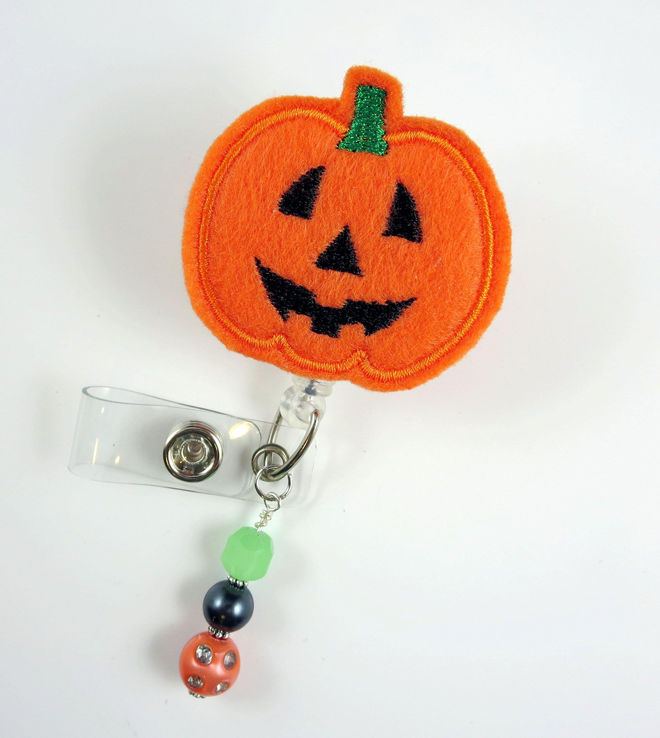 Nurse Badge Reel Fall Badge Reel Glitter Badge Reel ID Badge Halloween Badge Reel Pumpkin Badge Reel Set of 1