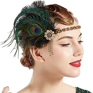 Coucoland 1920s - Cinta para el pelo, diseño de plumas de