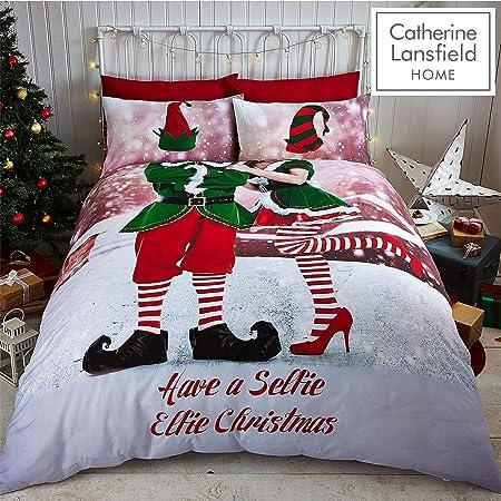 Tony S Textiles Set Copripiumino Babbo Natale Con Slitta Elfo Matrimoniale Amazon It Casa E Cucina