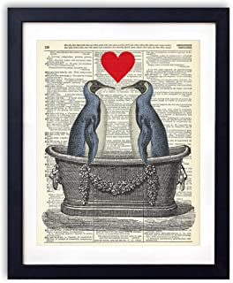 Penguin Love In the Tub, Upcycled Vintage Dictionary Art Print, Farmhouse Boho Style Art Print for Bedroom, Living Room and Bathroom Decor 8x10 Inches, Unframed
