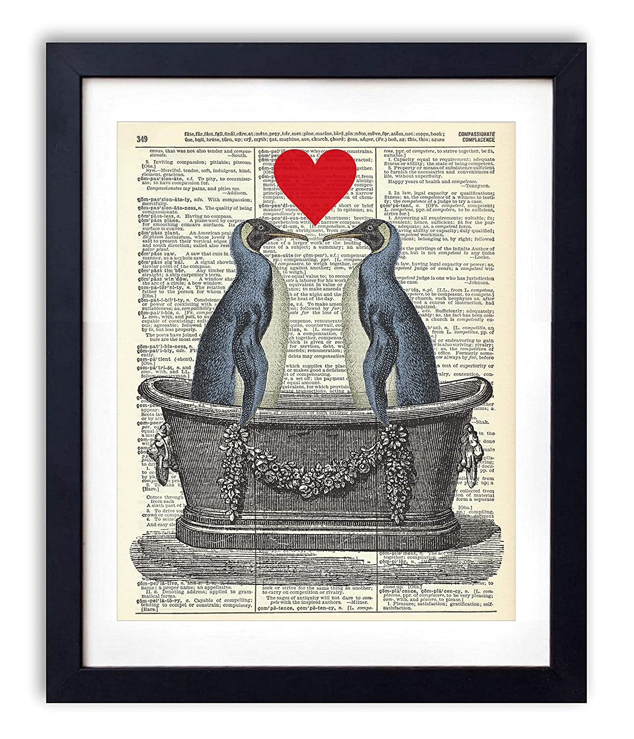 Penguin Love In the Tub Dictionary Vintage El Paso Mall Regular dealer Print Upcycled Art