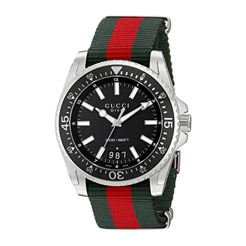 4576fb8005b Gucci Dive Stainless Steel with Striped Nylon Band Men s Watch(Model  YA136206)