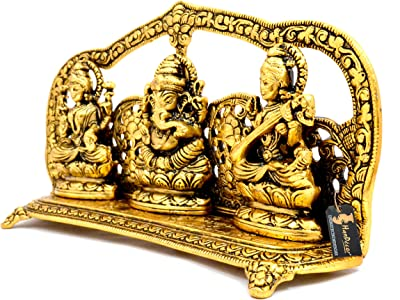 Two Moustaches Aluminium Laxmi Ganesha Saraswati Idol, Standard, Golden, 1 Piece