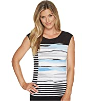 Calvin Klein Sleeveless Print and Striped Top
