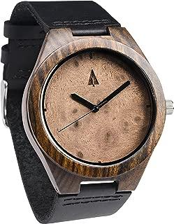 Treehut Mens Ebony Walnut Burl Wooden Watch with Genuine Black Leather Strap