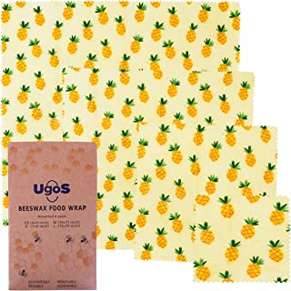 UGOS Organic Beeswax Food Wraps - Reusable Bees Wax Paper Wrap, Assorted 4 Pack