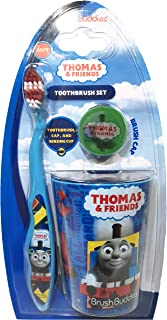 Brush Buddies Children's Soft Bristle Toothbrush Set Including Toothbrush, Rinsing Cup, and 3D Toothbrush Cap (Thomas & Friends)