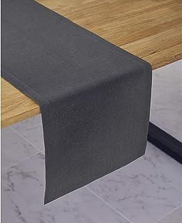 Solino Home Medium Weight Linen Table Runner - 100% Pure Linen - 14 x 60 Inch, Graphite