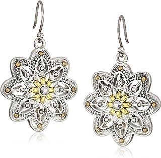 Flower Drop Earrings, Two Tone, One Size