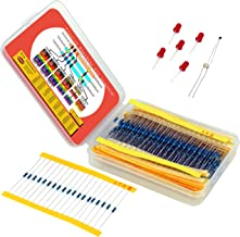 Resistor Assortment Kit - Set of 600 Assorted Resistors from 10 Ohm to 1 MOhm in a Box- Metal Film Resistors Variety Pack with 30 Values Plus Thermistor, Photoresistor and 5 LEDs from Plusivo
