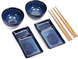 Exzact EX-SG Hermoso Estilo Oriental Set de Sushi de 10 Piezas 2 x Platos de Sushi 2 x tazones de inmersi/ón 2 x Pares de Palillos 2 x Palillos de bamb/ú Rests 2 x Bamboo Sushi Rolling Mats