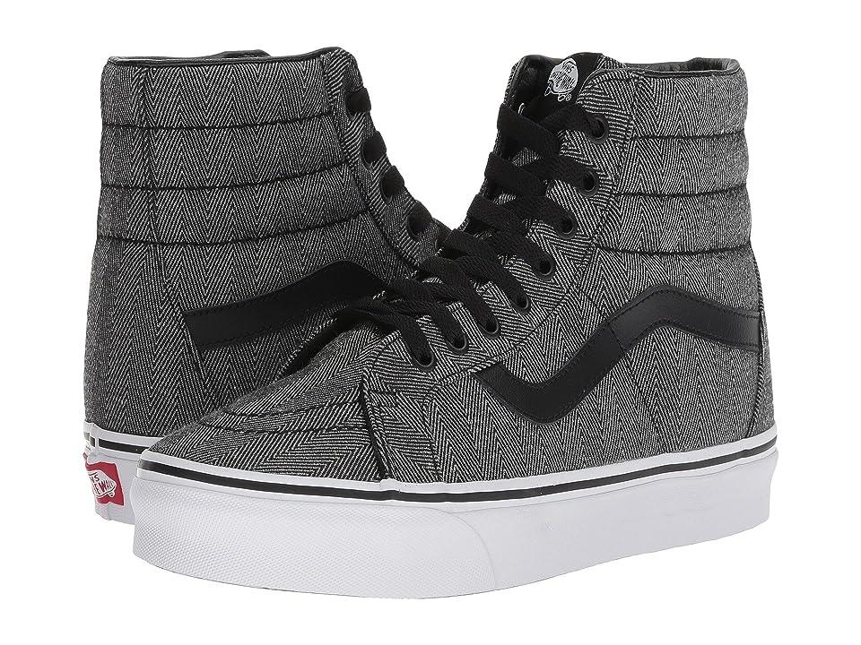 Vans SK8-Hi Reissue ((Oversized Herringbone) Black/True White) Skate Shoes