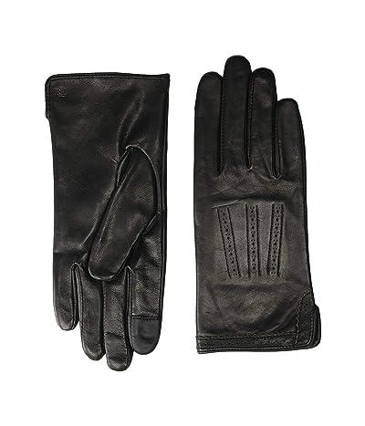 LAUREN Ralph Lauren Brogue Leather Gloves (Black) Liner Gloves