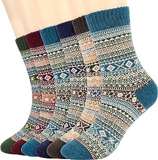 6 Pares de Calcetines Termicos Grueso Calcetines Mujeres Calcetines de Invierno Caliente Suave cómodo Calcetines de la Historieta térmicos