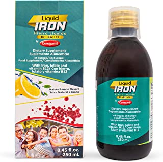 Ceregumil Liquid Iron Dietary Supplement with Folate and Vitamin B12 - Lemon Flavor (8.45 fl.oz, 250 mL)