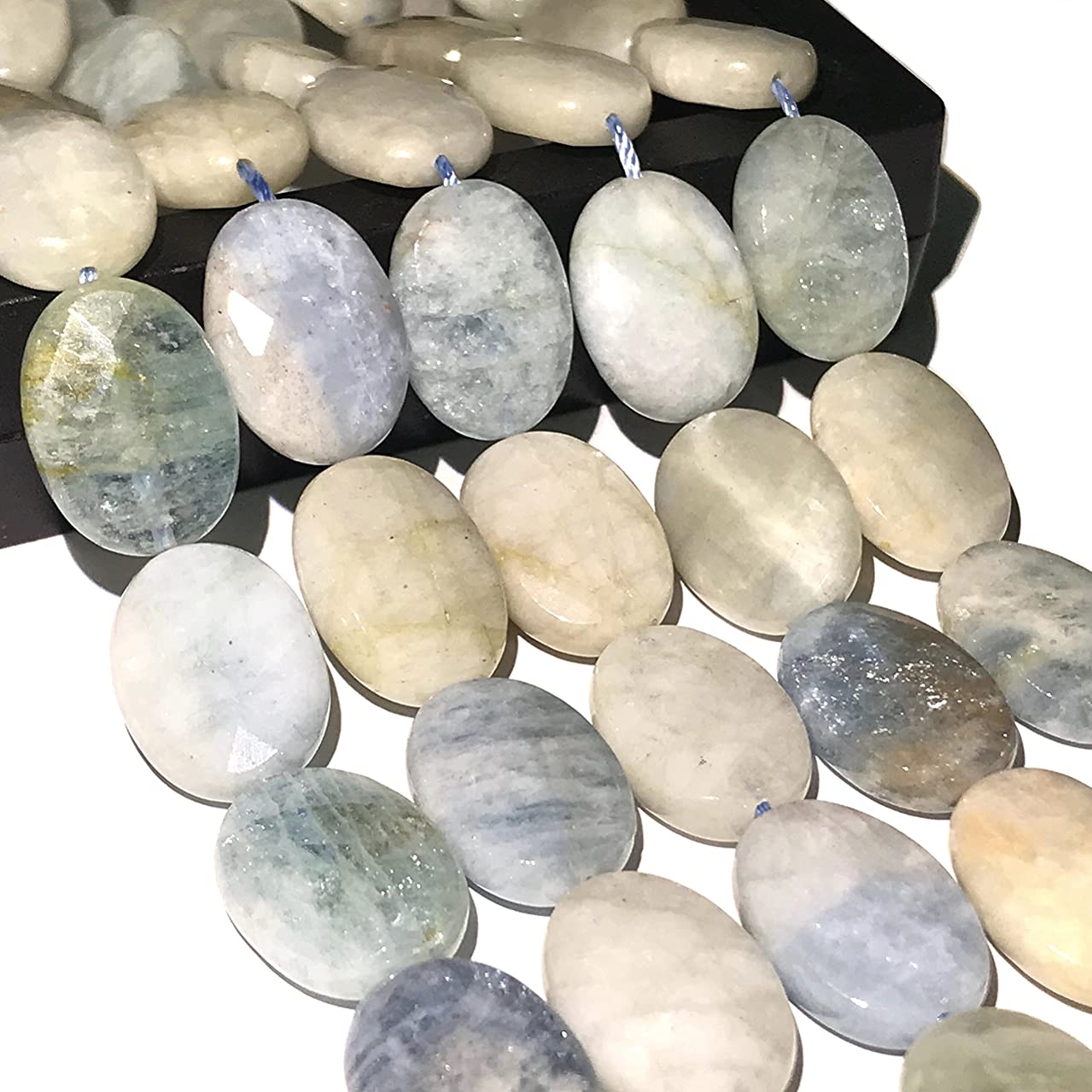 [ABCgems] Brazilian Aquamarine 13X18mm Faceted Oval Beads