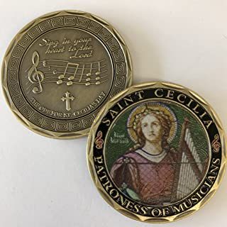 St. Cecilia - Patron Saint of Musicians Commemorative Coin - Cast and Colorized with Beautiful Iron Plating & Ancient Bronze. Stunning Original one-of-a-Kind Catholic Church Patron Saint of Musicians