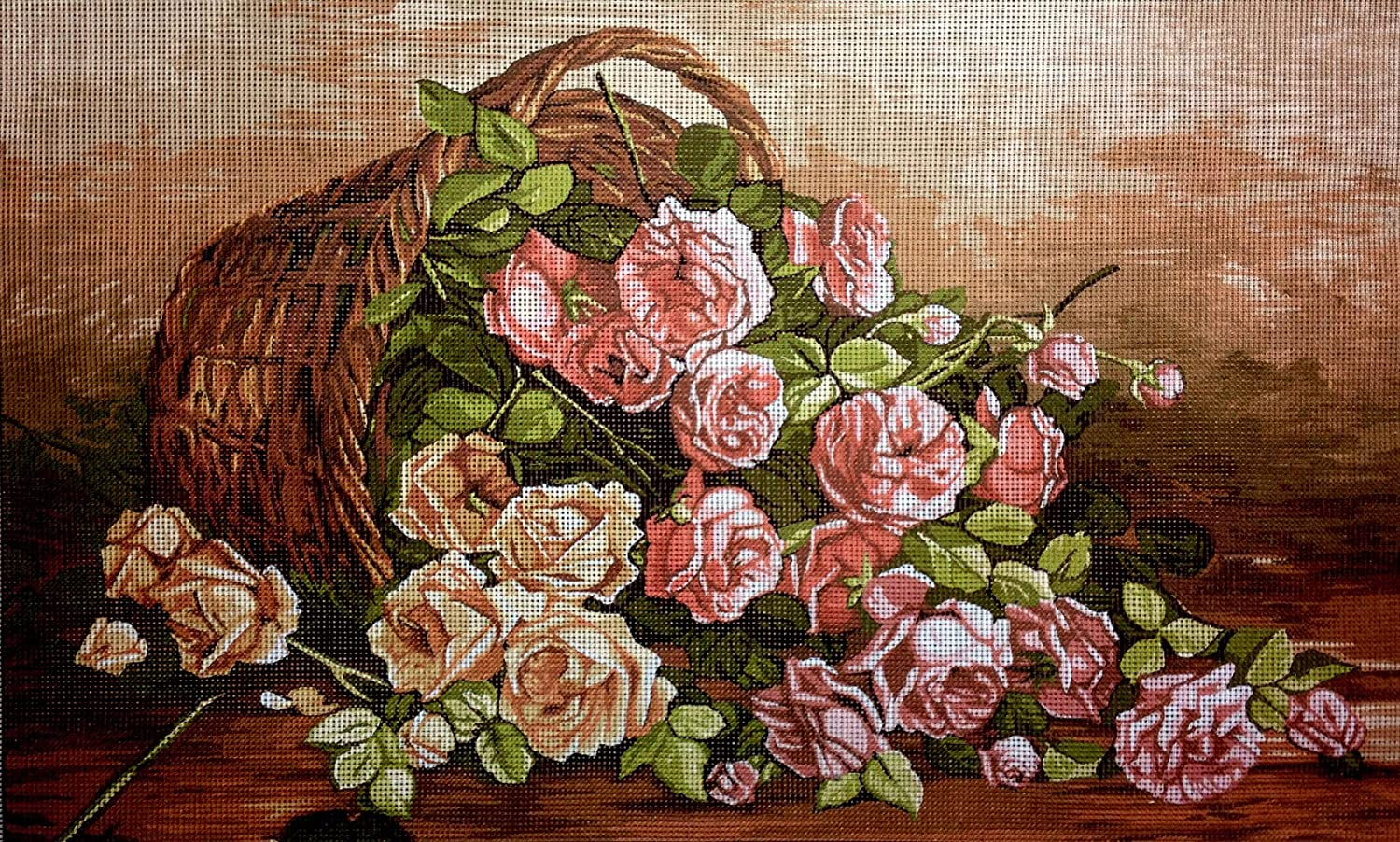 hudema's Needlepoint Kit Roses Easy-to-use Challenge the lowest price of Japan ☆ 20x12 Canvas Printed 50x30cm in T
