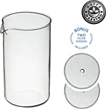 Kaffe Maestro Universal French Press Replacement Glass Beaker Kit, 8-cup / 34 Oz / 1000 ml , with Two 18/8 Premium Stainless Steel Filter Screens