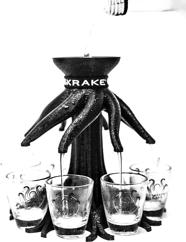 Schnapsverteiler f/ür 8 Personen made in Germany schwarz, ohne Gl/äser Schnapskrake/® Das Original