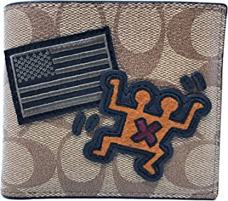 Coach Keith Haring Double Billfold Wallet in Signature Canvas with Patches F66591