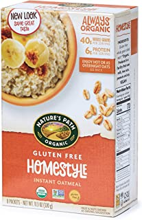 Nature's Path Organic Gluten Free Instant Oatmeal, Homestyle, 48 Packets (Pack of 6, 11.3 Oz Boxes)
