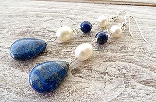 Orecchini in argento 925 con lapislazzuli blu e perle bianche, pendenti lunghi, gioielli contemporanei, bijoux pietre dure...