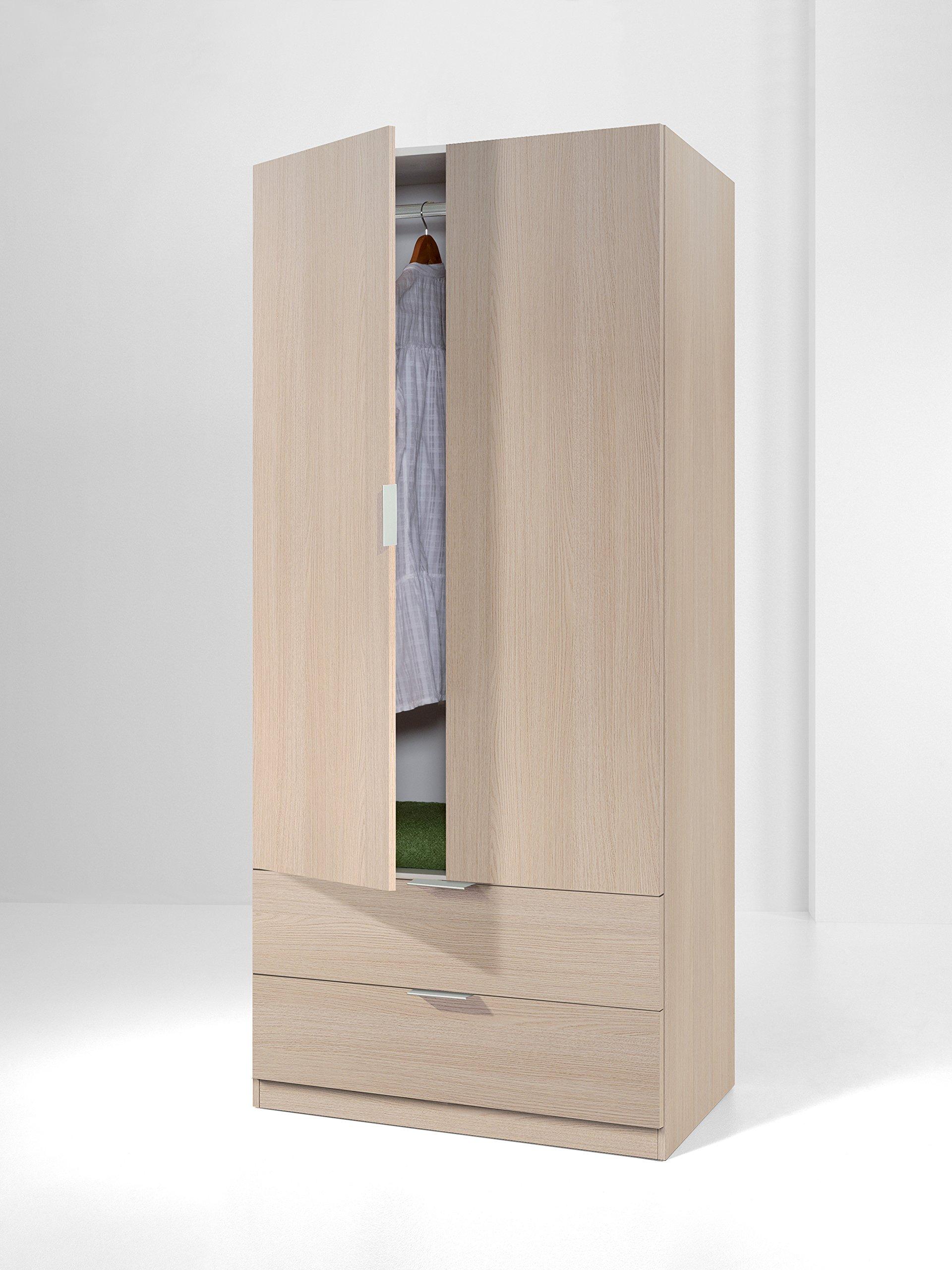 Armario con 2 puertas y 2 cajones para dormitorio o habitación en ...