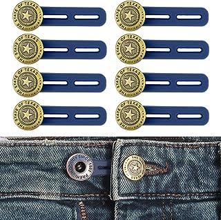 Juego de 8, Extensor de Cintura para Pantalones, Botón de Extensión en Silicona de Pantalones hasta 5 cm, Botones retrácti...