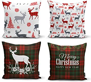 Ysahome Xmas Decor Pillow Cover - Merry Christmas and Happy New Year Quoted Cushion Cover - Deer Snowflakes Tree Throw Pil...