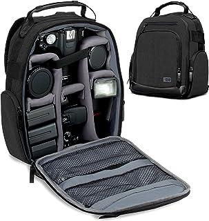 USA GEAR Mochila para Cámara Portátil para DSLR (Negra) con Divisores de Accesorios Personalizables Fondo Resistente a la Intemperie y Respaldo Cómodo - Compatible con Canon Nikon Sony y más SLR
