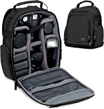 USA GEAR Portable Camera Backpack for DSLR (Black) with Customizable Accessory Dividers, Weather Resistant Bottom and Comfortable Back Support - Compatible with Canon, Nikon and More