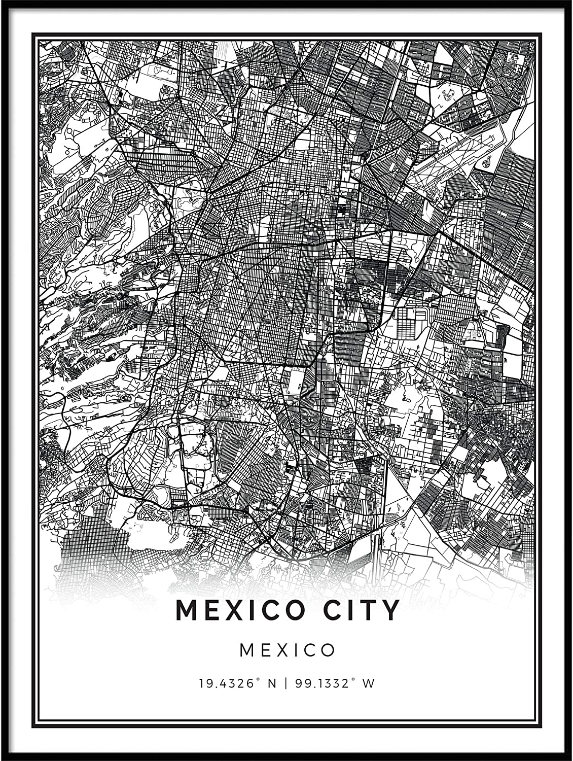 Squareious Mexico City map Poster Print   Modern Black and White Wall Art    Scandinavian Home Decor   Mexico City Prints Artwork   Fine Art Posters ...