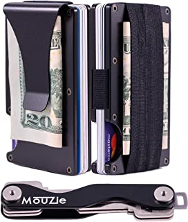MouZie Clip + Strap Slim Aluminum Minimalist Wallet Key Organizer Keychain Set